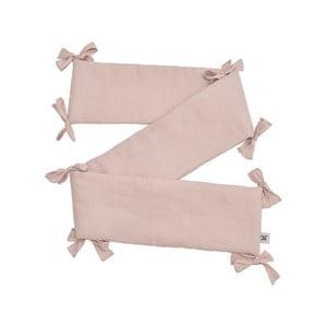 Ružový detský ľanový ochranný mantinel do postieľky BELLAMY Dusty Pink, 23,5×198 cm