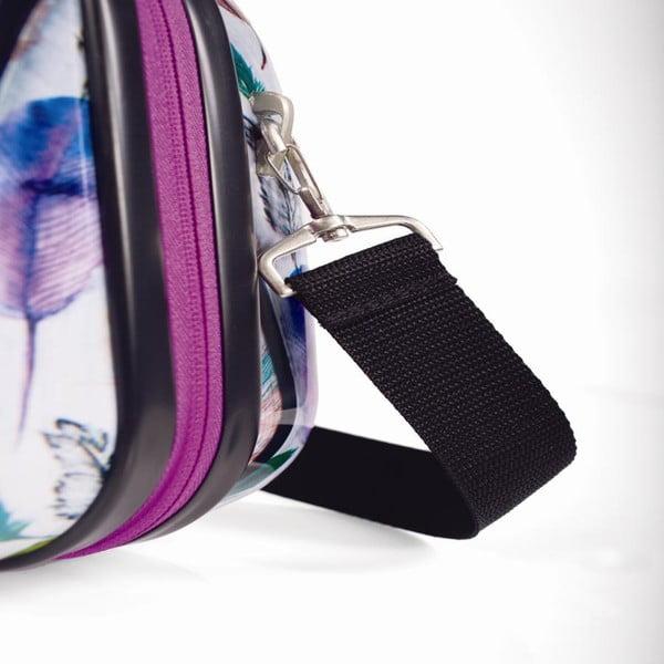 Biely cestovný kozmetický kufrík s farebnými lístkami SKPA-T