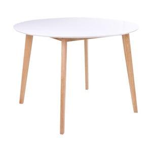 Jedálenský stôl s okrúhlou bielou doskou loomi.design Vojens