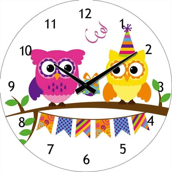 Sklenené hodiny Párty sovičky, 30 cm