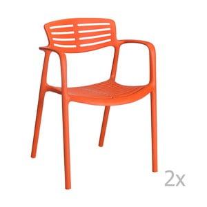 Sada 4 oranžových záhradných stoličiek sopierkami Resol Toledo Aire