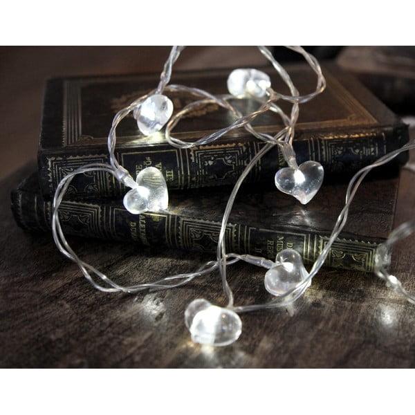 Svetelná LED reťaz Best Season White Hearts, 135 cm