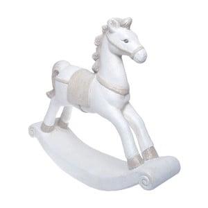 Biely keramický dekoratívny hojdací koník Ewax, výška 42 cm