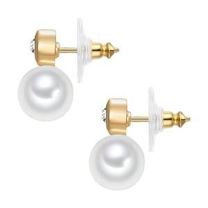 Dámske náušnice zlatej farby s motívom bielych perál Tassioni