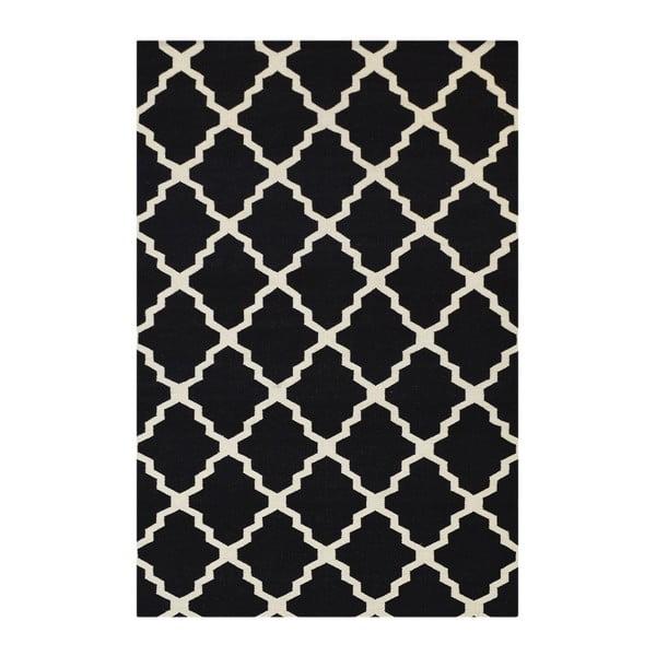 Vlnený koberec Kilim Jasmina Black, 160 x 230 cm