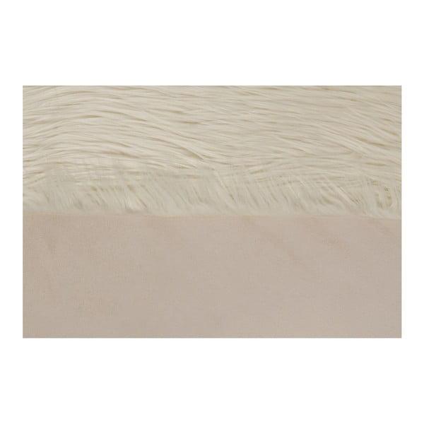 Krémový koberec z umelej kožušiny Dione, 100 x 75 cm
