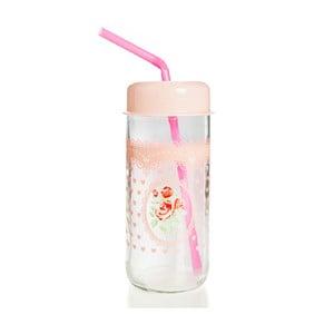 Pohár s ružovým vekom a slamkou Mezzo Jar, 360 ml