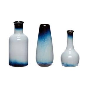 Sada 3 modro-bielych keramických váz Hübsch Frej