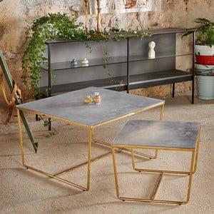 Sada 2 konferenčných stolíkov s podnožím v zlatej farbe a šedú mramorovou doskou RGE Stella