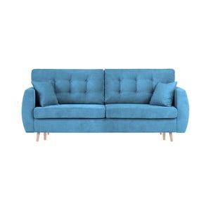 Modrá trojmiestna rozkladacia pohovka Cosmopolitan design Amsterdam, 231×98×95 cm