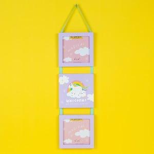Nástenná závesná dekorácia s 2 rámami na fotografie Happy News Unicorns