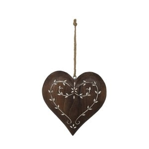Závesná drevená dekorácia v tvare srdca Antic Line Anna