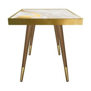 Príručný stolík Caresso Gold Marble Square, 45 × 45 cm