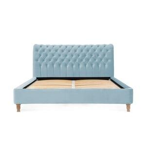 Svetlomodrá posteľ z bukového dreva Vivonita Allon, 140 × 200 cm