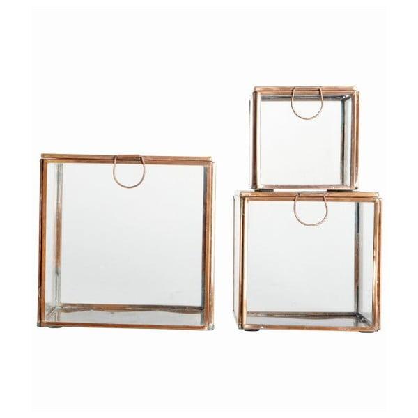 Sada 3 sklenených nádob Copper