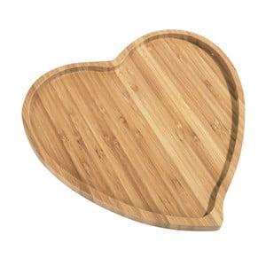 Bambusový servírovací podnos Kosova Heart, 27x25cm