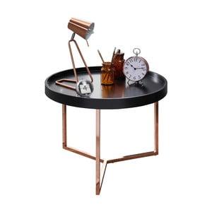 Čierny príručný stolík s nohami v medenej farbe Skyport Wohnling Eva, ⌀ 58,5 cm