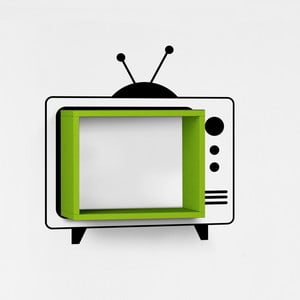 Nástenná polica so samolepkou TV, zelená