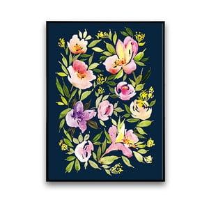 Plagát s fialovými kvetmi, 30 x 40 cm