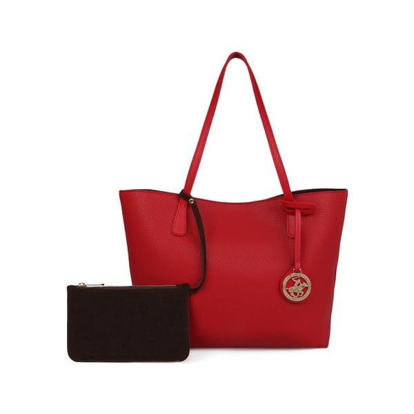 Červená kabelka s hnedým vnútrom Beverly Hills Polo Club Celeste