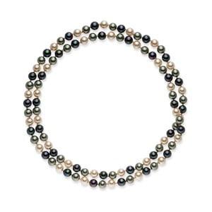 Sivo-biely perlový náhrdelník Pearls Of London Mystic, dĺžka 90 cm