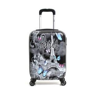 Čierny cestovný kufor na kolieskach Hello Paris