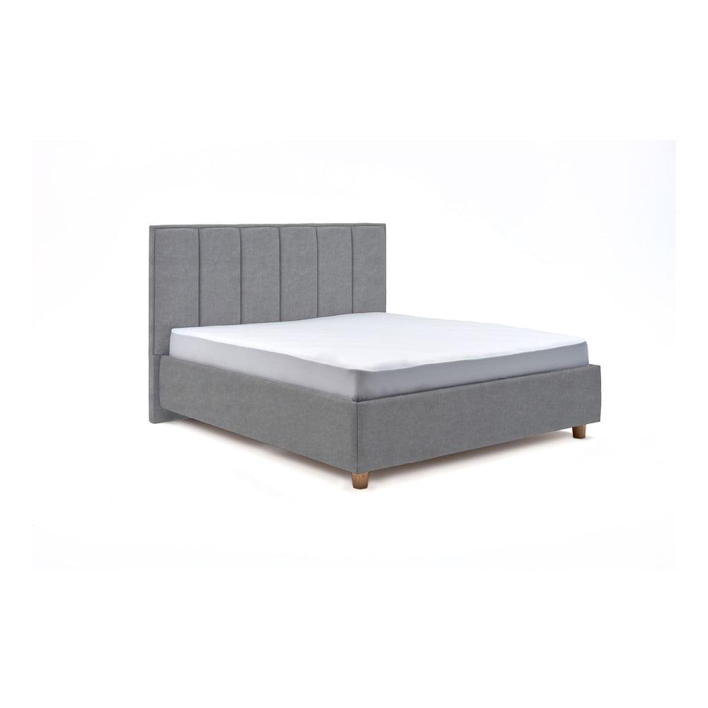 Modrosivá dvojlôžková posteľ s roštom a úložným priestorom PreSpánok Wega, 160 x 200 cm