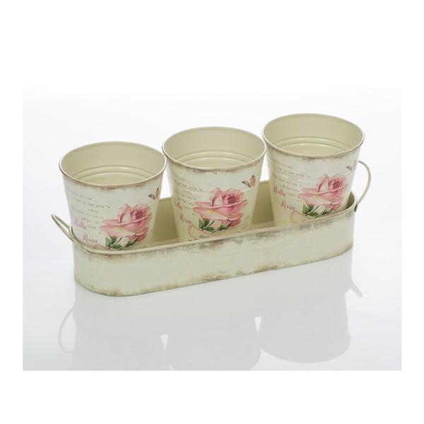 Sada 3 kvetináčov na tácke Rose Pots