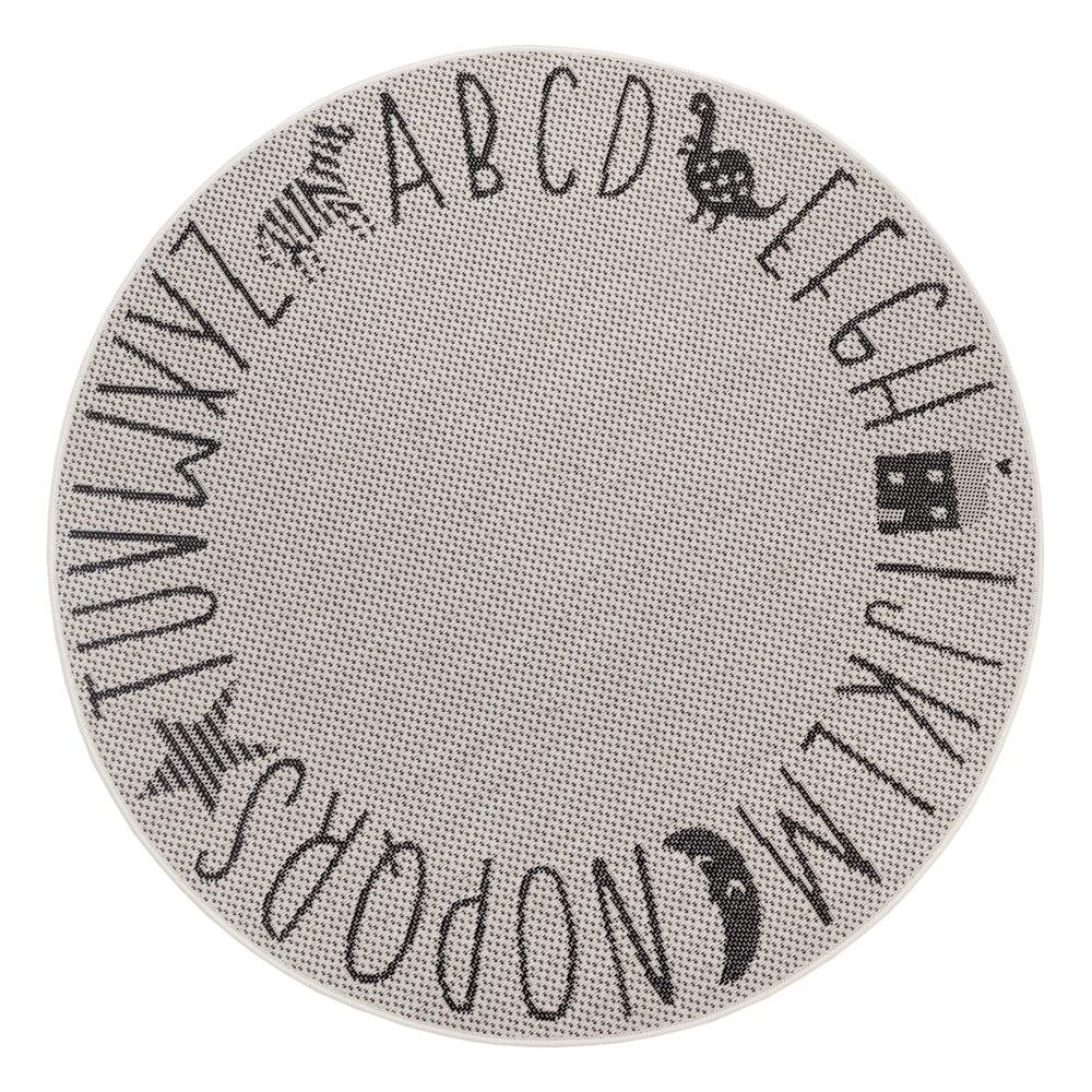 Čierno-sivý detský koberec Ragami Letters, ø 160 cm