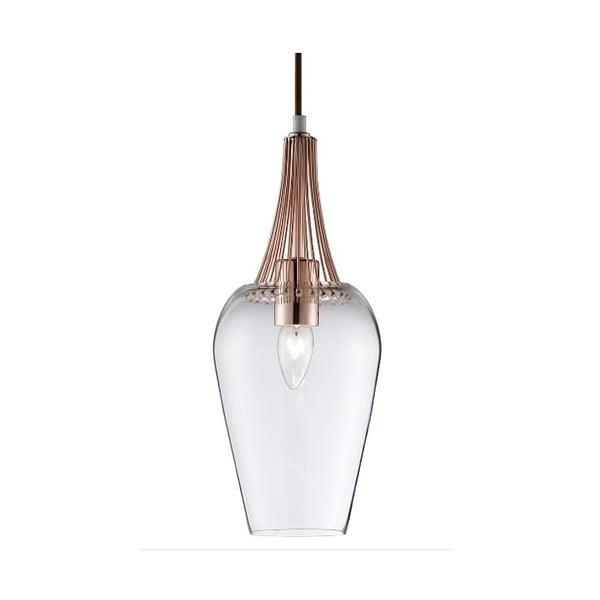 Stropné svietidlo Searchlight Whisk, medená/čirá