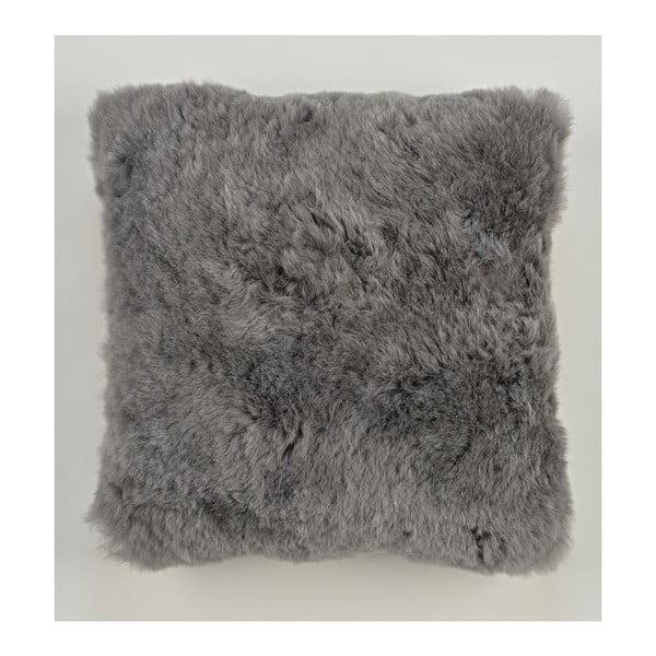 Obojstranný kožušinový vankúš s krátkym chlpom Grey, 50x50 cm