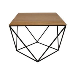 Čierny konferenčný stolík s doskou z dubového dreva Take Me HOME Tulip, 53×53cm