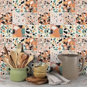 Sada 9 nástenných samolepiek Ambiance Cement Tiles Terrazzo Zunilda, 10 x 10 cm