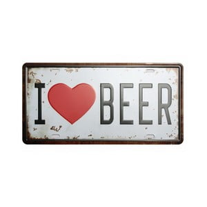 Ceduľa I Love Beer, 15x30 cm