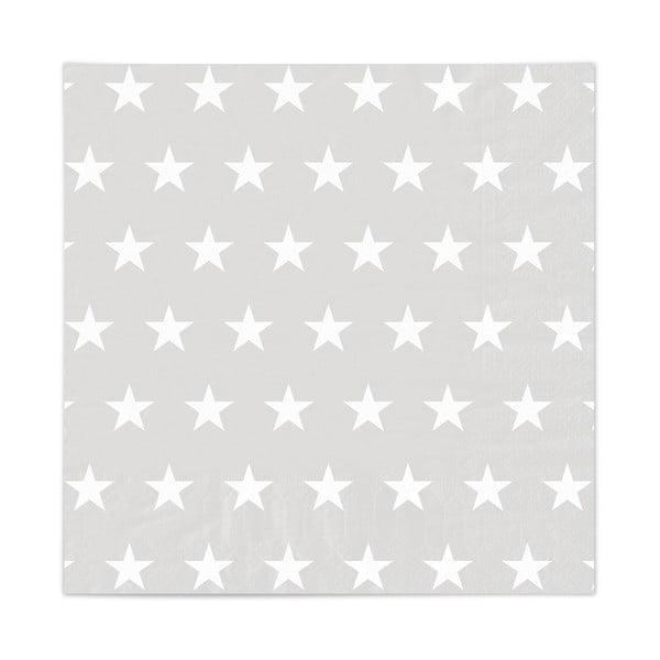 Sada 20 obrúskov Stars Grey