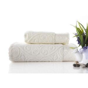 Sada uteráka a osušky Hanzade Ecru, 70x140 a 50x90 cm
