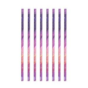 Sada 8 papierových slamiek Kikkerland Galaxy