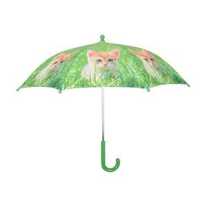 Zelený dáždnik s potlačou mačky Esschert Design Animals