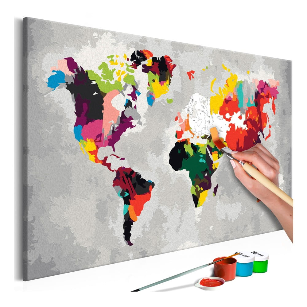 DIY set na tvorbu vlastného obrazu na plátne Artgeist Bright World Map, 60 × 40 cm