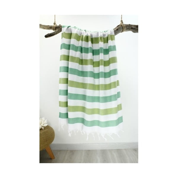 Zeleno-biela pruhovaná hammam osuška Rainbow Style, 100x180cm