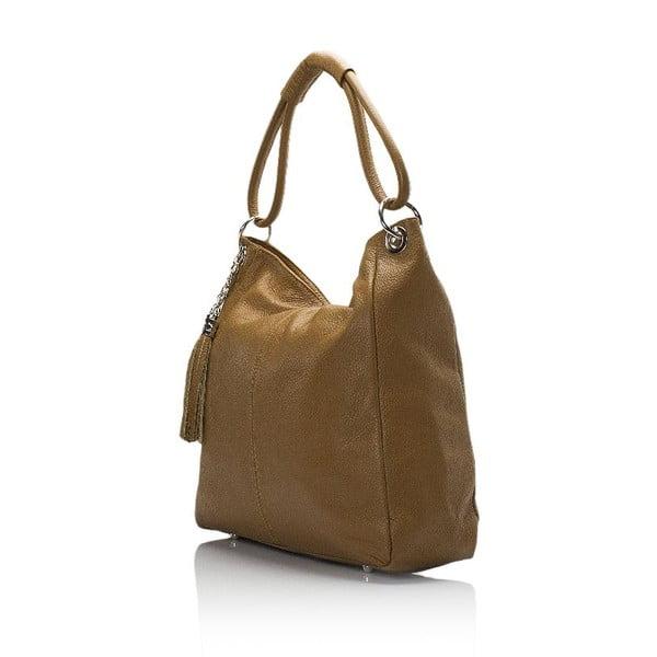 Koňakovohnedá kožená kabelka Lisa Minardi Herta