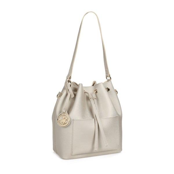 Krémovobiela kabelka z eko kože so zlatými odleskami Beverly Hills Polo Club Sophia