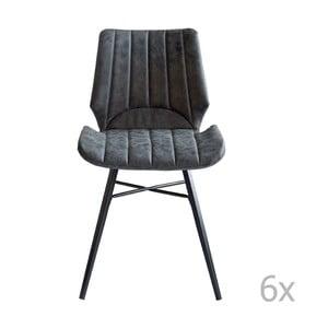 Sada 6 sivých jedállenských stoličiek RGE Odin