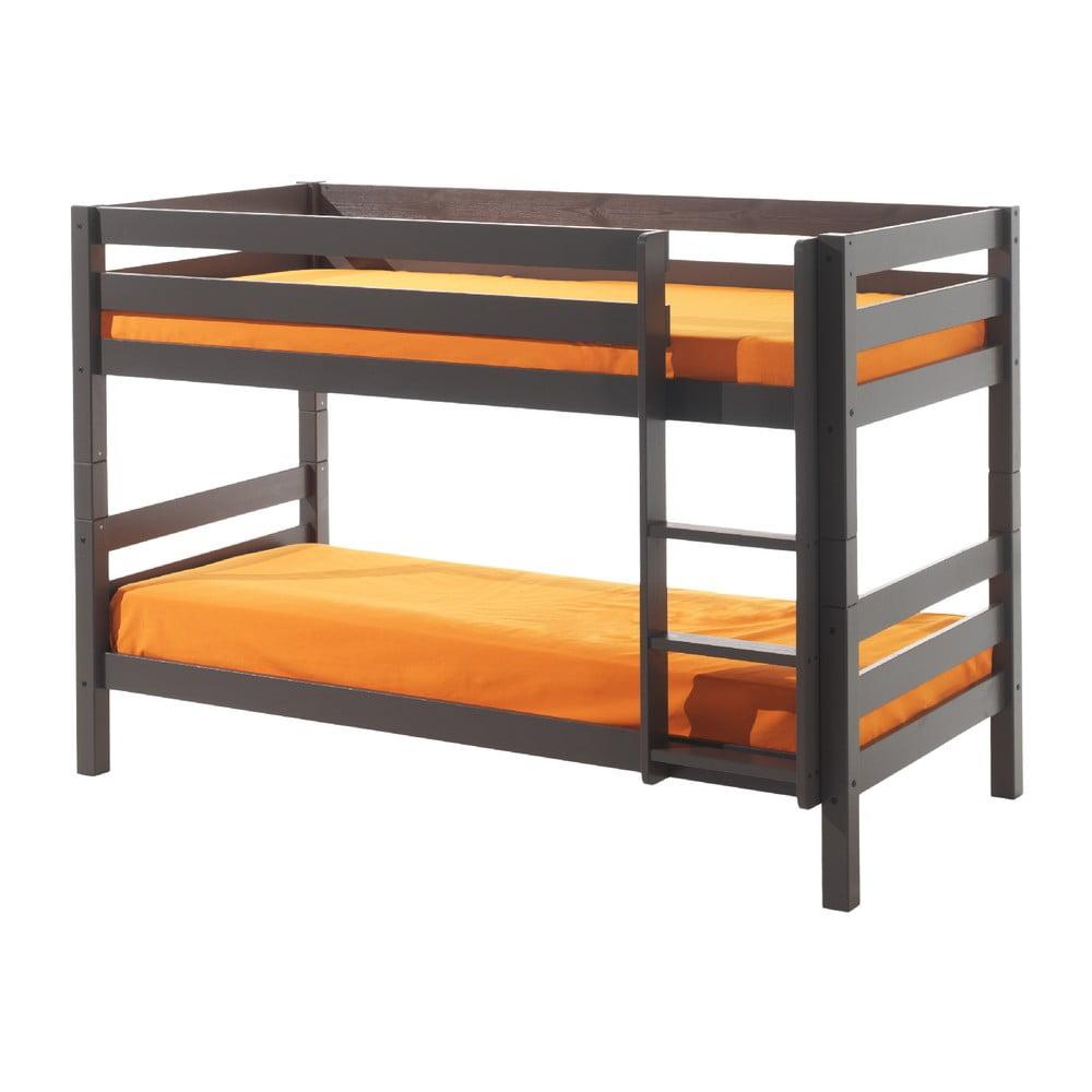 Sivá detská poschodová posteľ Vipack Pino, výška 140 cm