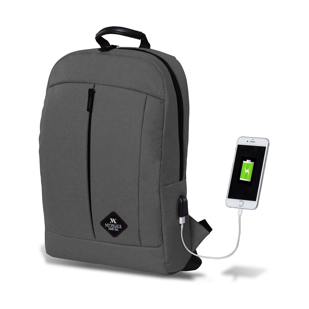 Sivý batoh s USB portom My Valice GALAXY Smart Bag
