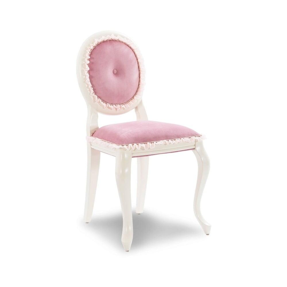 Biela stolička s ružovým čalúnením Dream Chair Pink