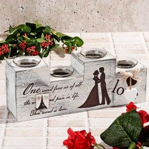 Drevený svietnik Wedding