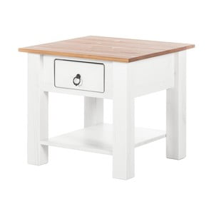 Biely konferenčný stolík z borovicového dreva s prírodnou doskou Støraa Klein