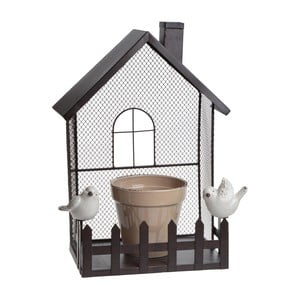 Kovová dekorácia s kvetináčom Flower Pot House