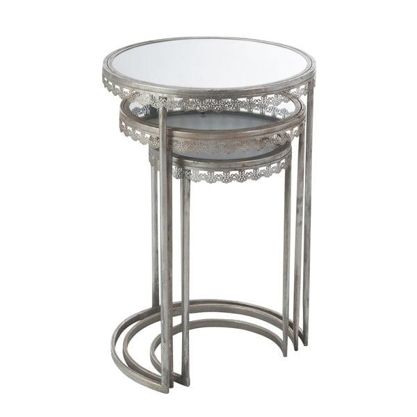 Sada 3 odkladacích stolíkov so zrkadlovou doskou Mesil